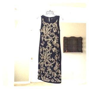 LESLIE FAY navy blue sleeveless beaded dress